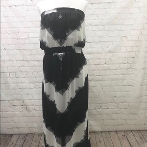 Mossimo Strapless Long Dress Black White Chevron